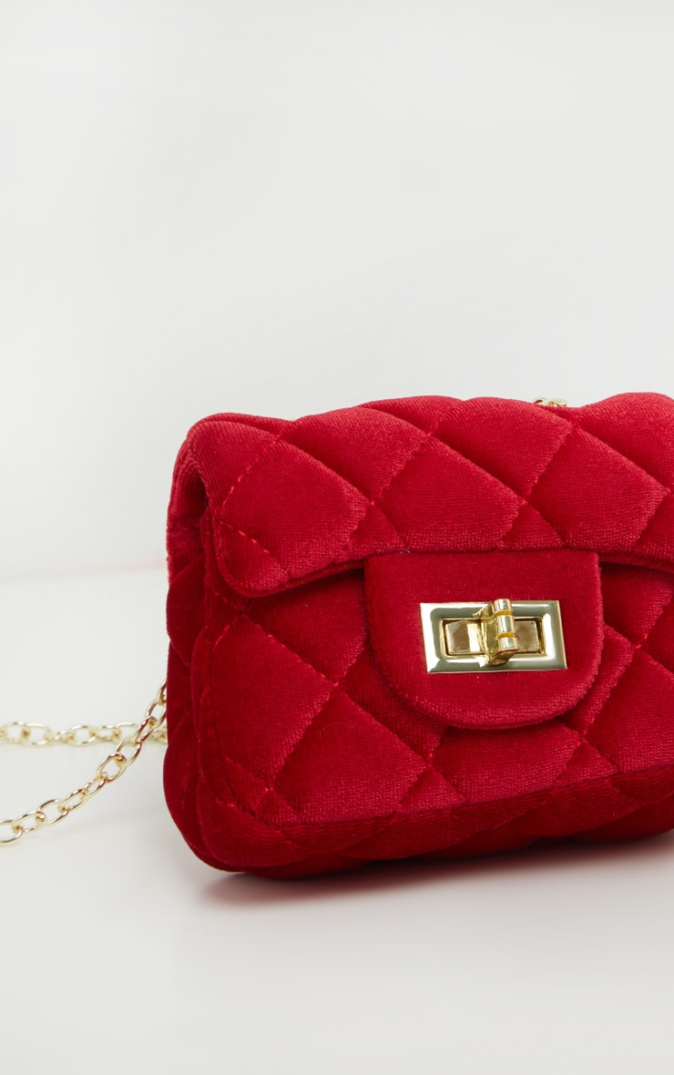 Red Quilted Mini Cross Body Bag  3