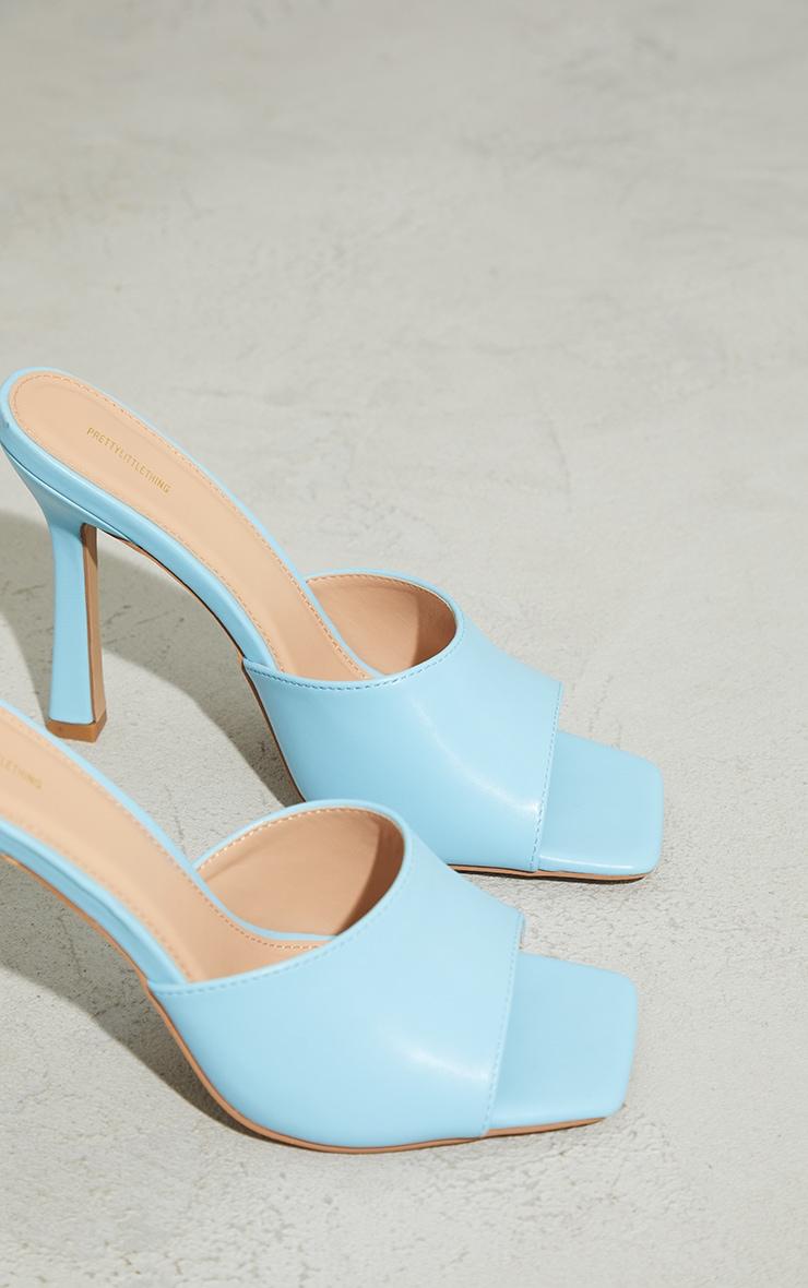 Baby Blue Square Toe Mule High Heels 4