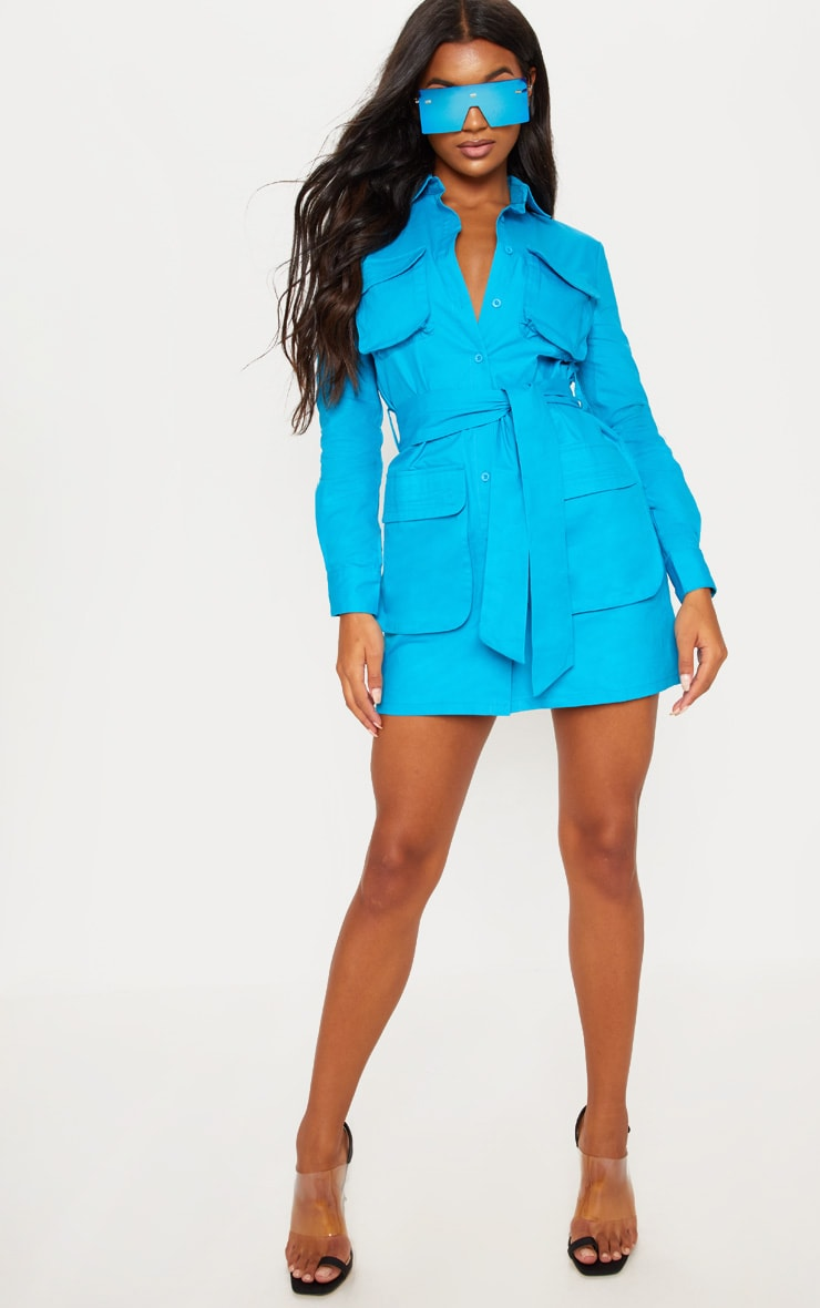 b1c6ec1889527 Blue Utility Tie Waist Shirt Dress image 4