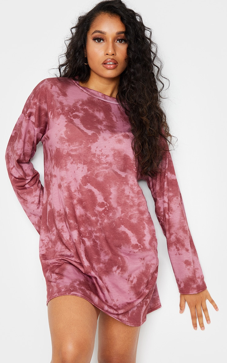 Petite Burgundy Tie Dye Long Sleeve Oversized T-Shirt Dress 1