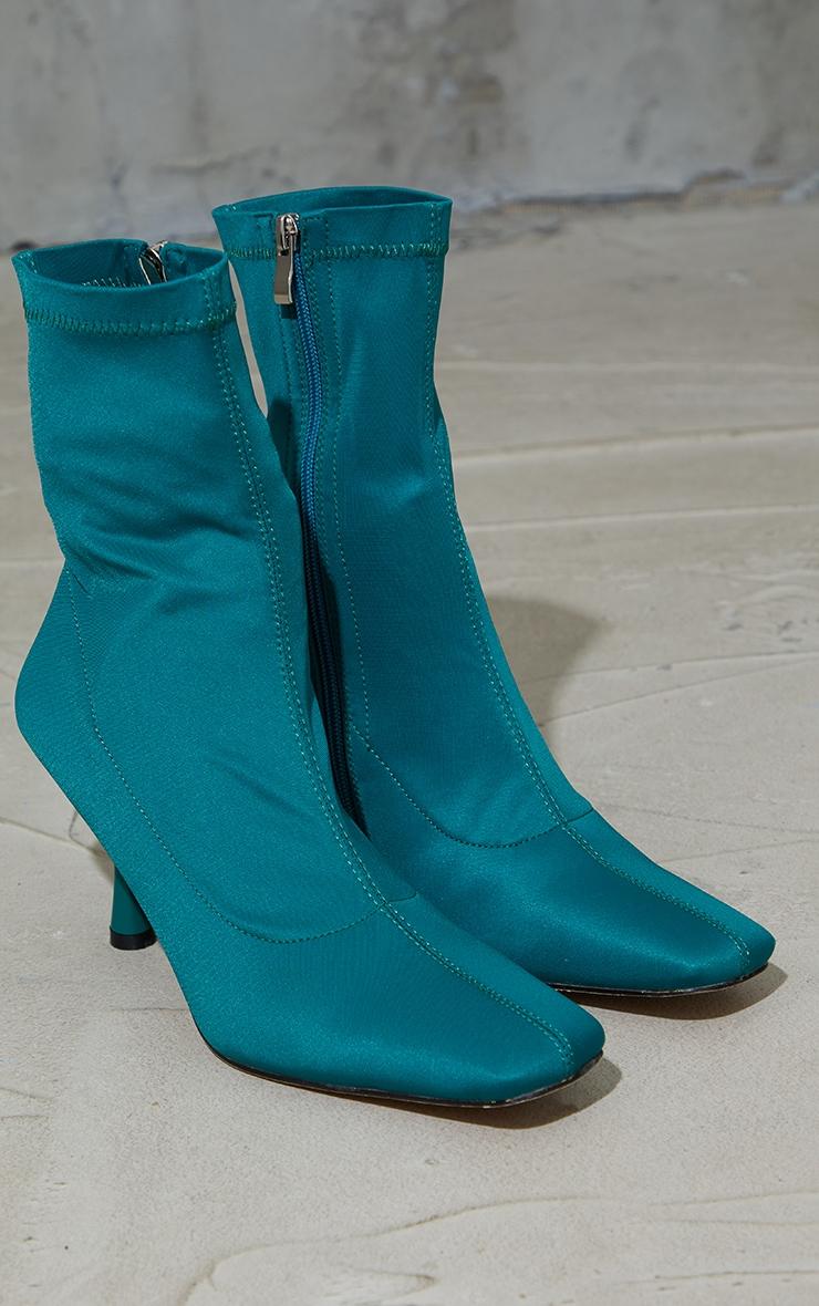Dark Teal Lycra Square Toe Mid Heel Sock Boots 3