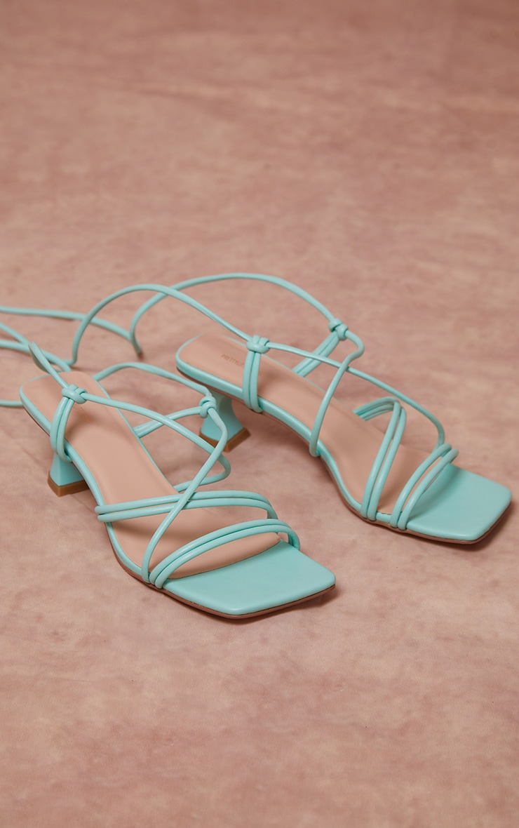 Mint Square Toe Lace Up Low Heel Sandals  4