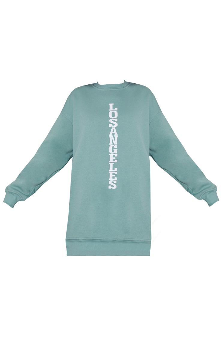 Sage Green Los Angeles Graphic Oversized Sweatshirt Dress 5