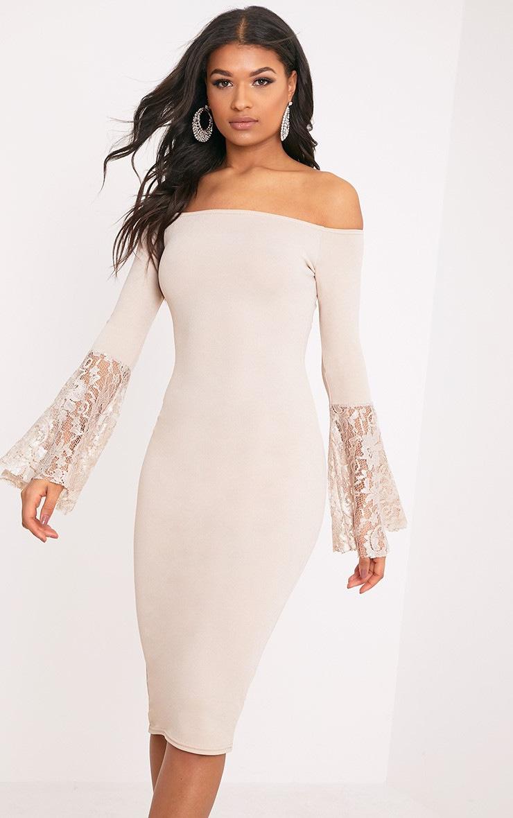 Tayler Nude Bardot Lace Flared Sleeve Midi Dress 3