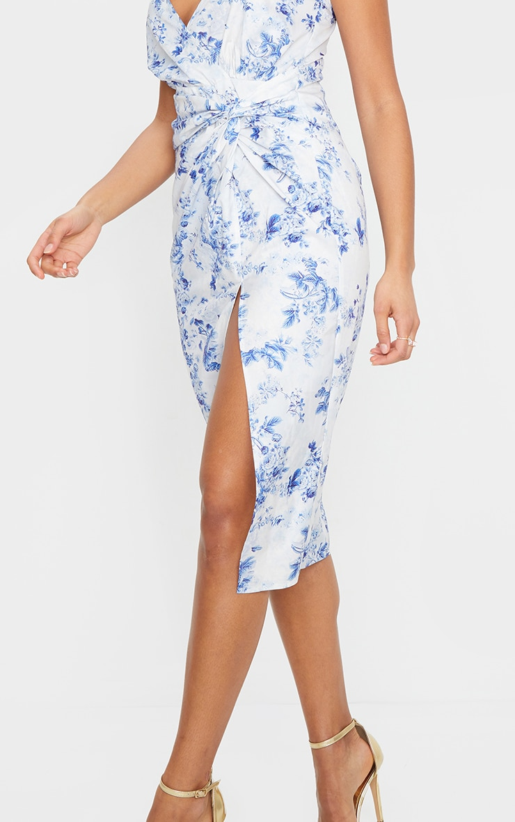 Blue Floral Print Twist Front Strappy Midi Dress 4