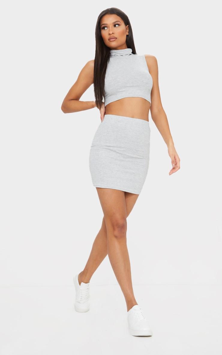 Essential Marl Grey Cotton Blend Jersey Mini Skirt 1