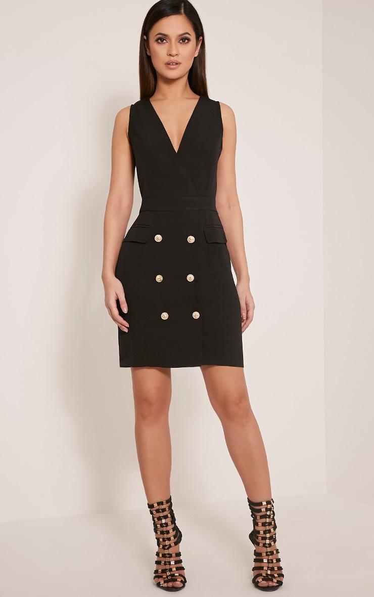 Keera Black Button Detail Blazer Dress 5