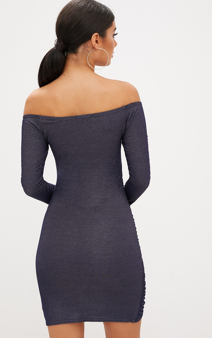 Blue Bardot Denim Look Ruched Front Bodycon Dress 2