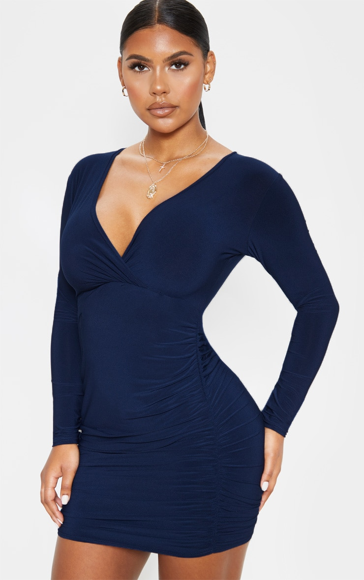 Navy Slinky Wrap Bust Ruched Side Bodycon Dress 1