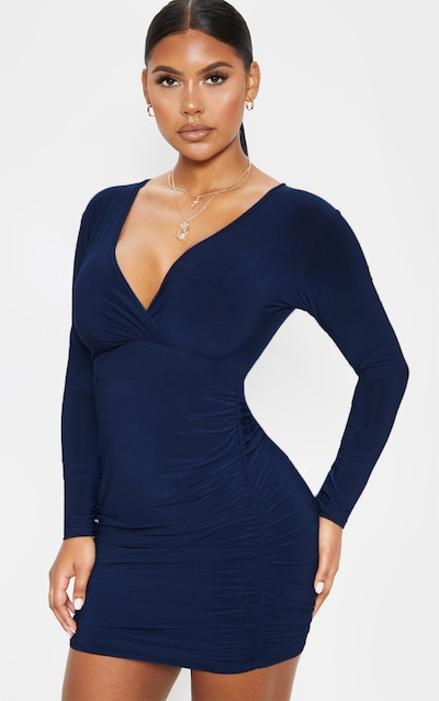 c321147c353ccb Navy Slinky Wrap Bust Ruched Side Bodycon Dress