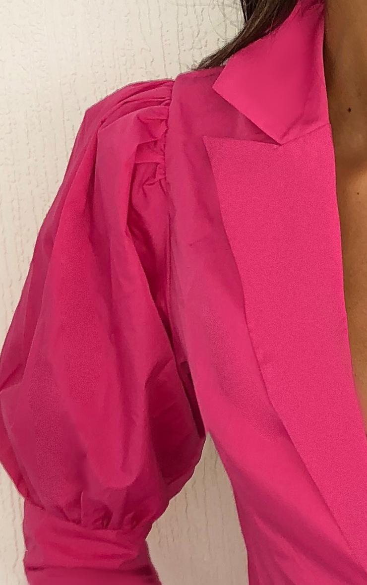 Chemise rose vif en maille tissée à manches bouffantes et boutons 4