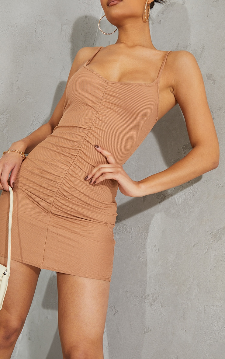 Toffee Ribbed Strappy Gathered Front Bodycon Dress 4