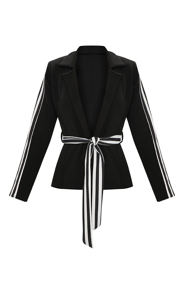 Black Multi Stripe Side Blazer  3