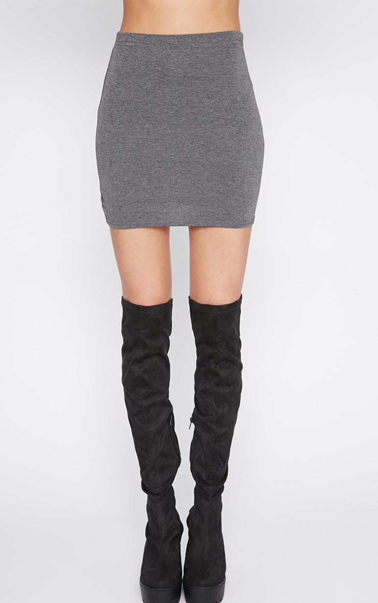 Margot Charcoal Jersey Mini Skirt 2