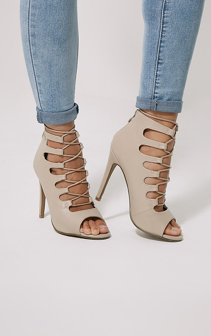 Tiggy Nude Lace Up Heeled Sandals 1