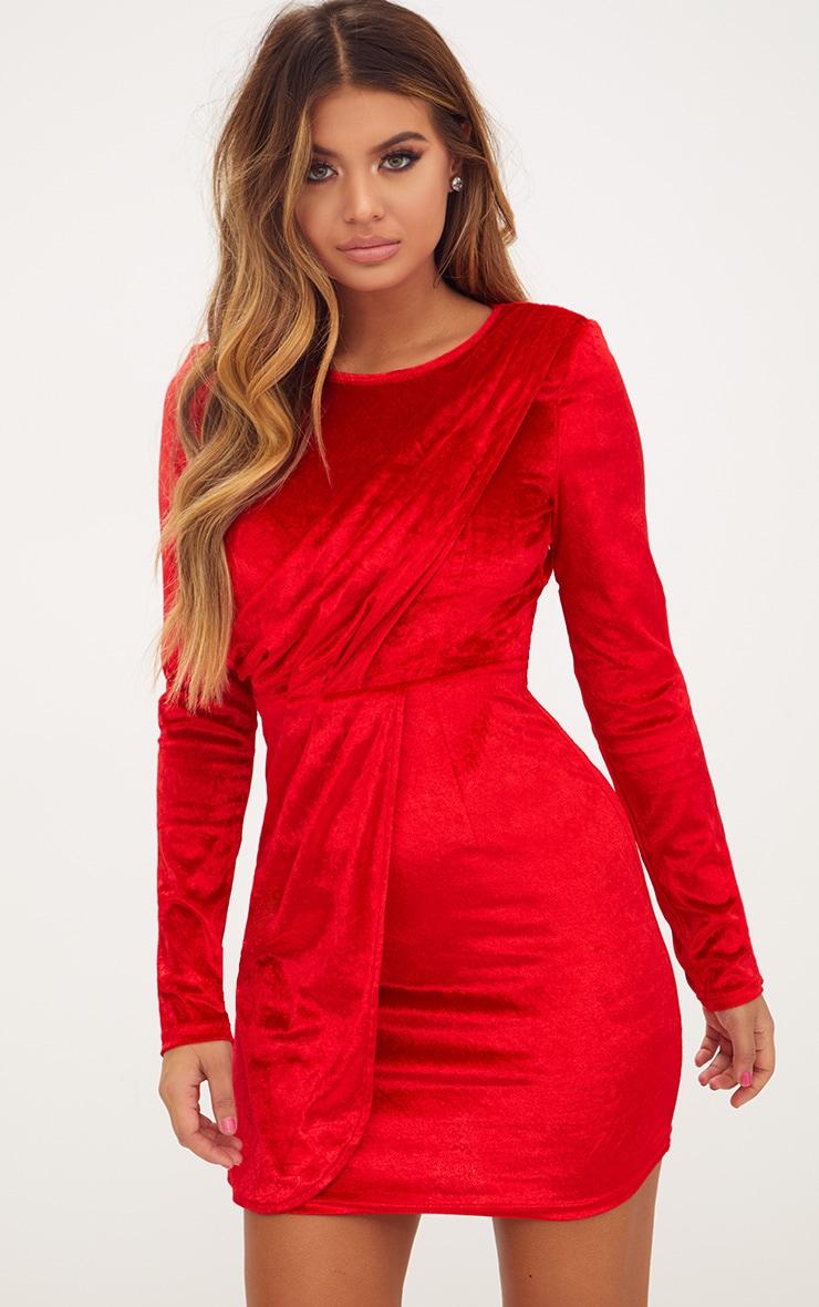 Red Long Sleeved Velvet Wrap Detail Bodycon Dress 1