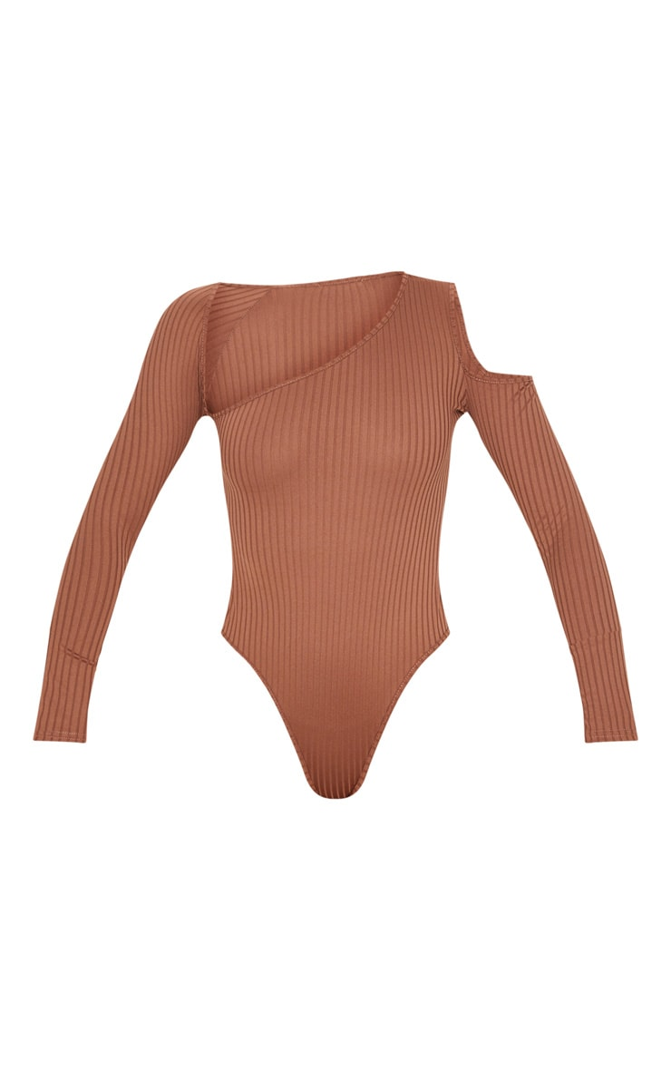 Brown Rib Cut Out Long Sleeve Bodysuit 3