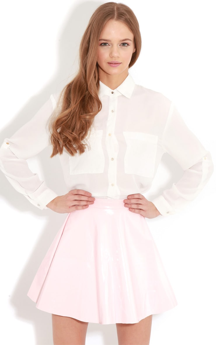 Arya White Cropped Blouse With Pearlised Buttons 1