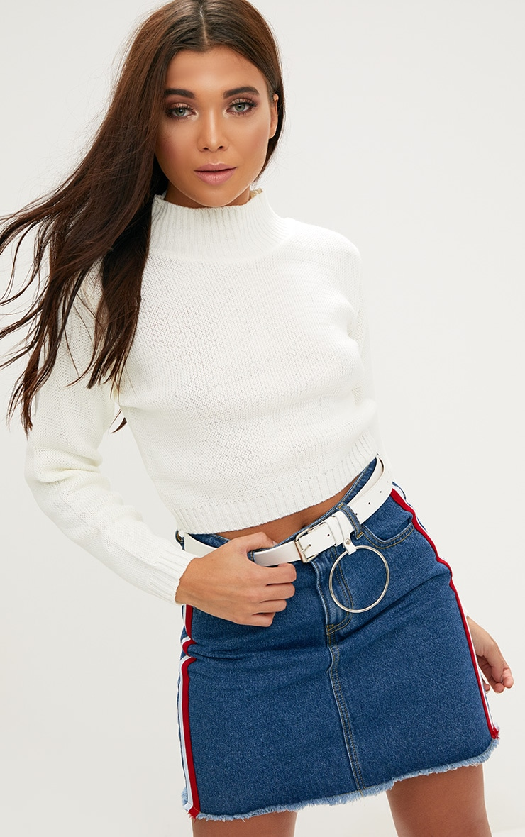 Cream High Neck Soft Knit Cropped Jumper 1