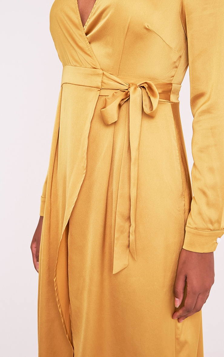Kallie Dark Gold Wrap Detail Satin Maxi Playsuit 7