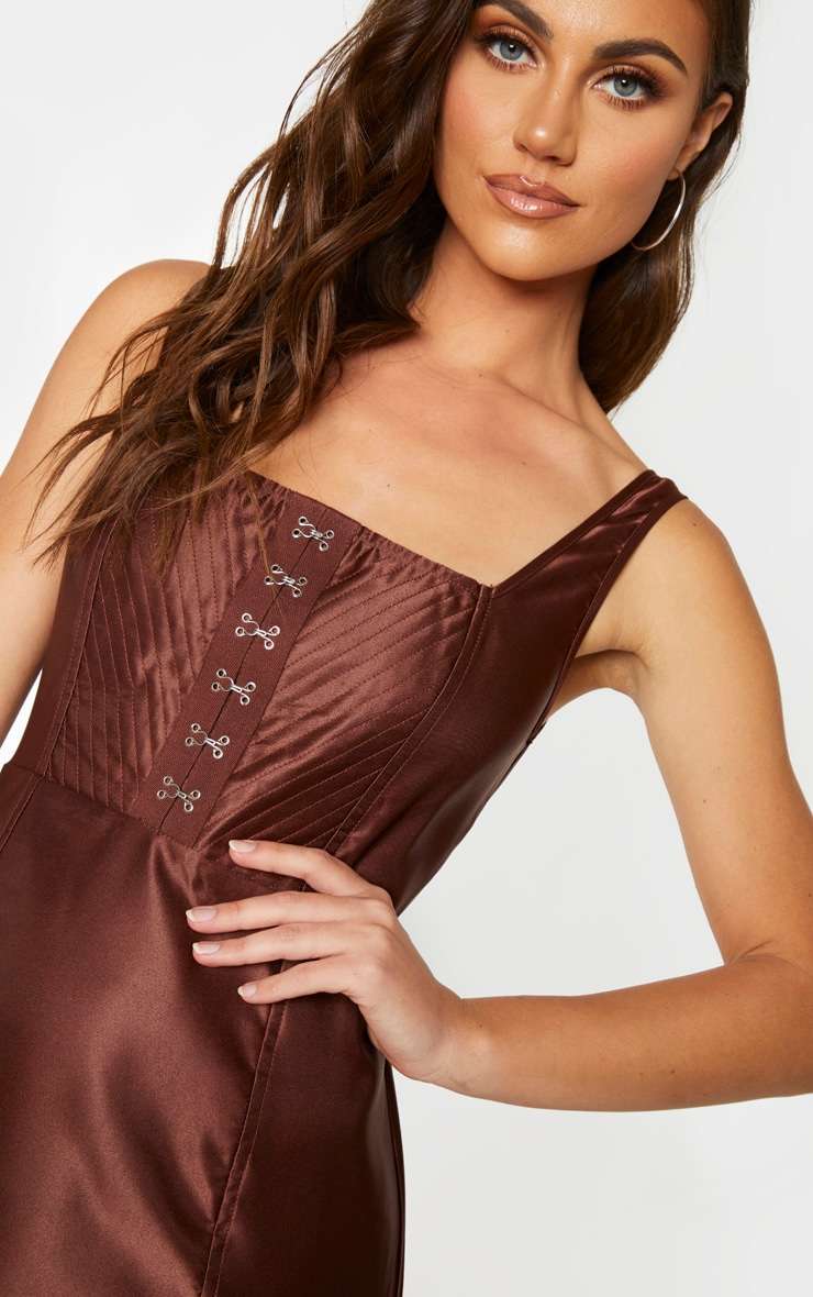 Chocolate Brown Satin Hook & Eye Bodice Sleeveless Bodycon Dress 4