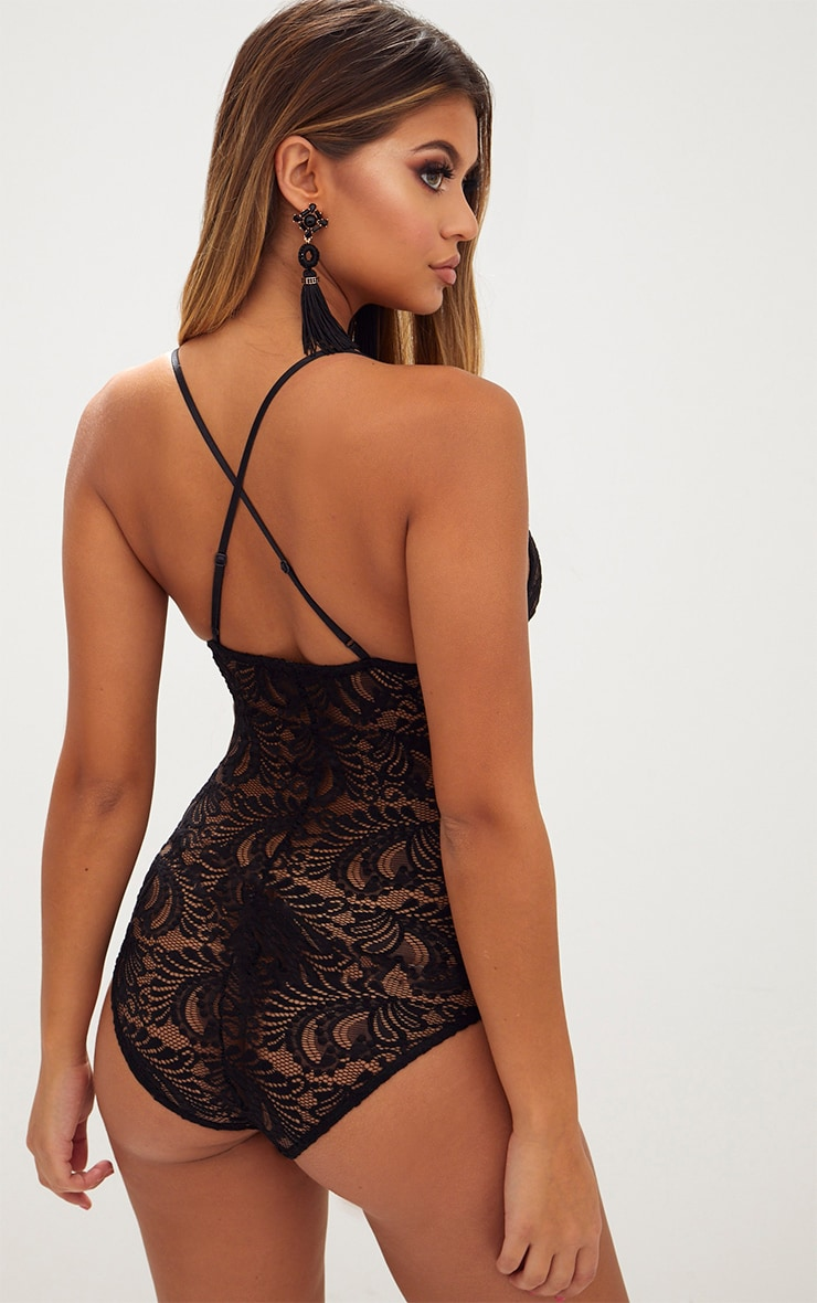Lucille Black Sheer Lace Cross Back Bodysuit 5
