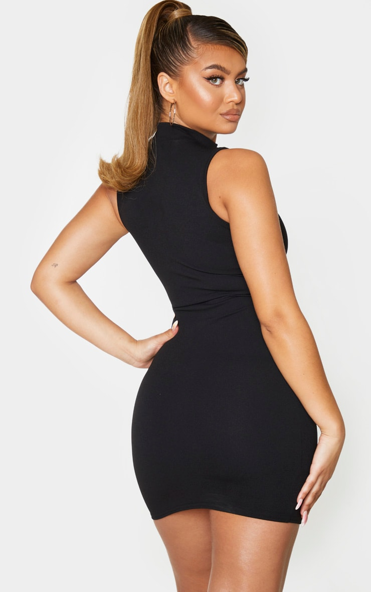 Black High Neck Sleeveless Underbust Detail Bodycon Dress 2