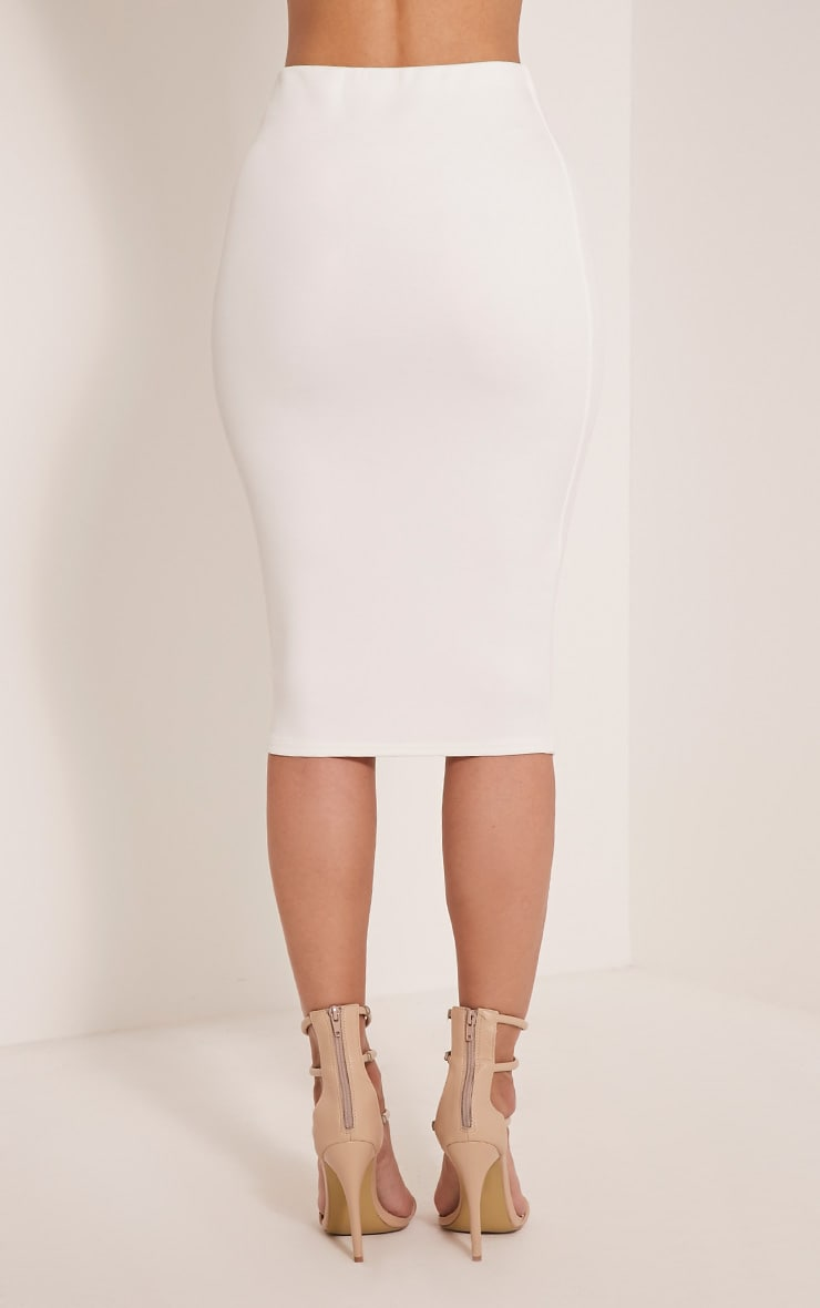 Winnie Cream Scuba Midi Skirt 5