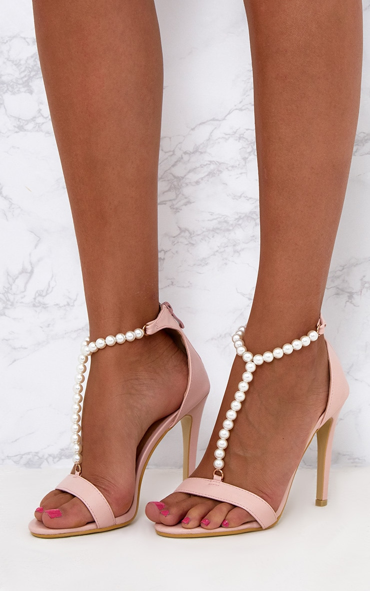 Blush Pearl T-Bar Strap Heels 2