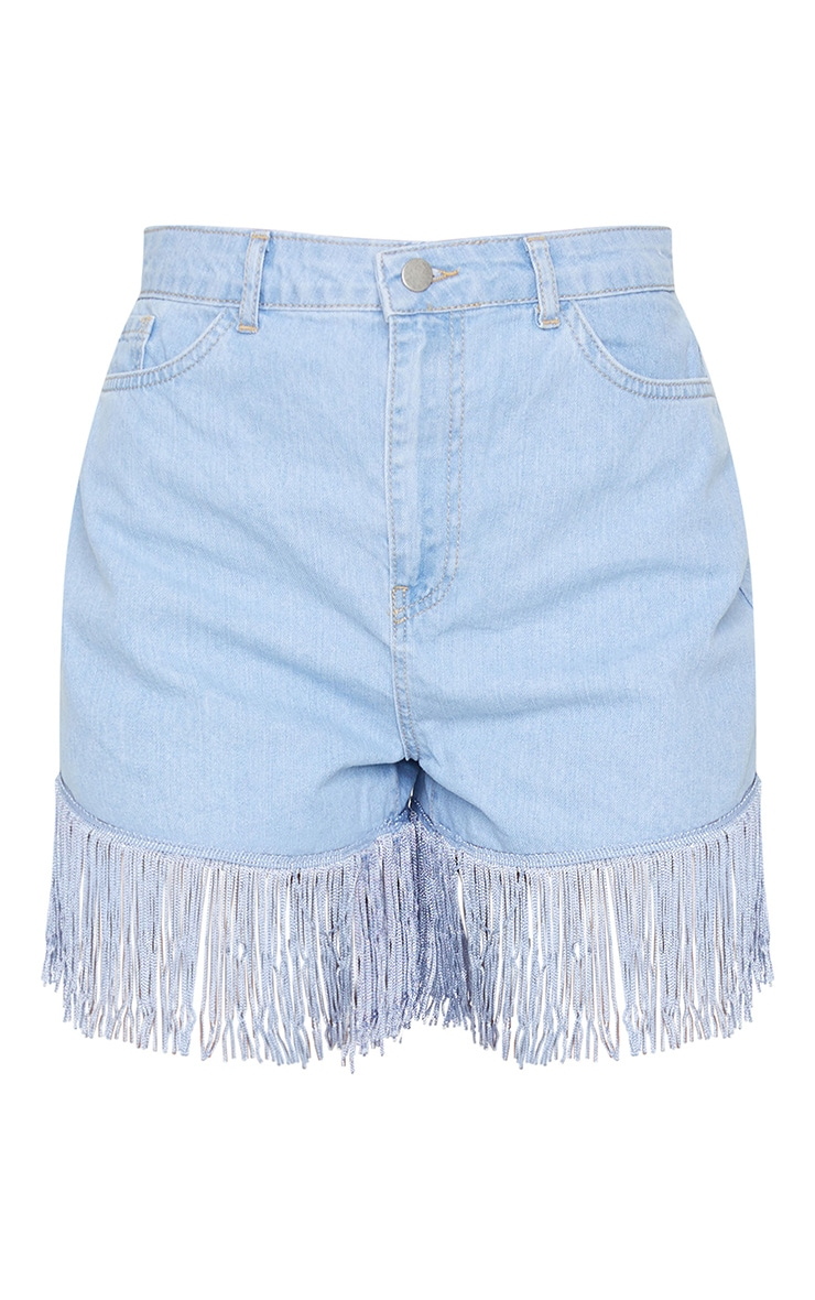 Light Blue Wash Tassel Hem Denim Shorts 6