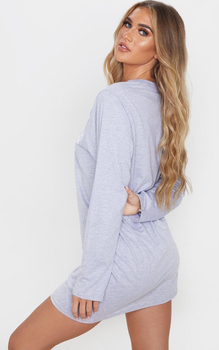Grey Arizona Slogan Long Sleeve T Shirt Dress 2
