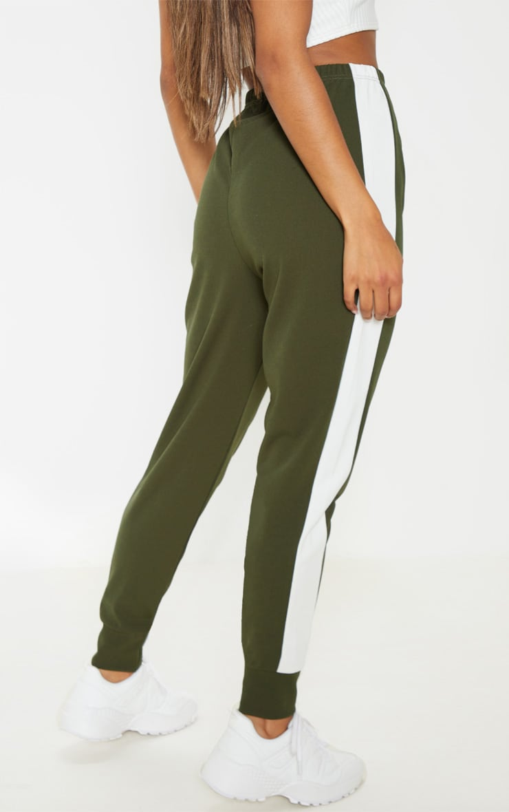 Khaki Side Stripe Detail Jogger 4