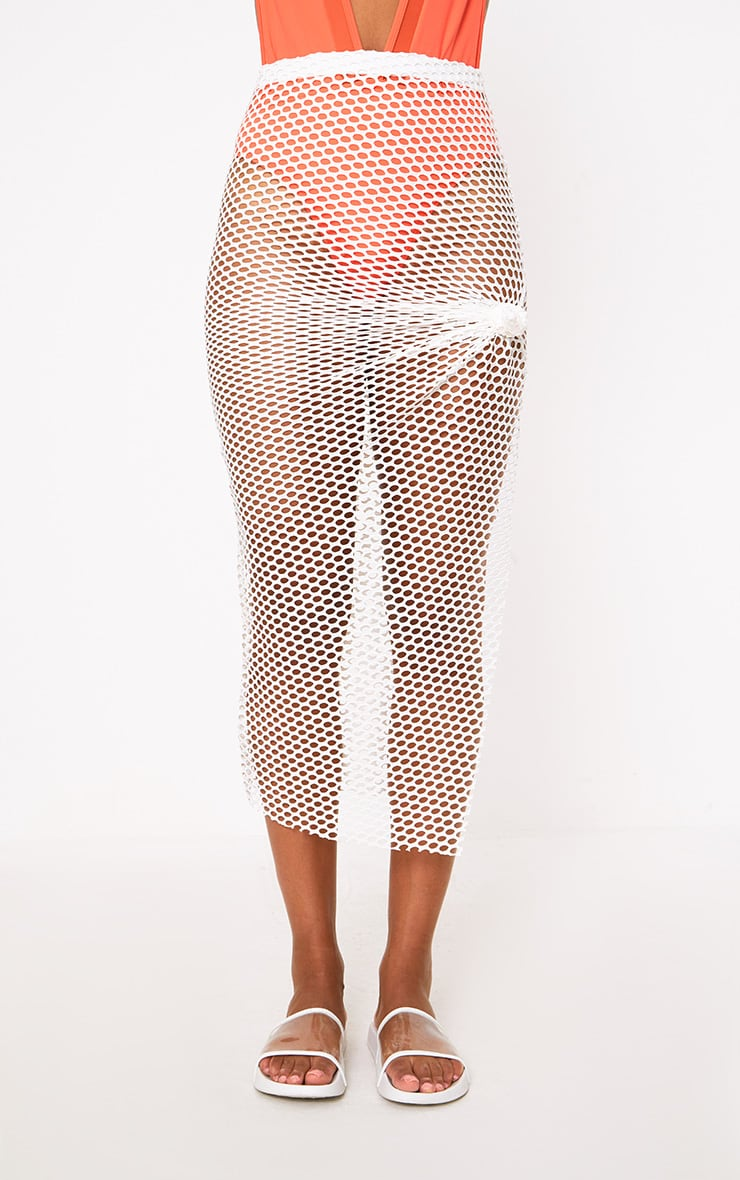 Cream Fishnet Knotted Maxi Skirt 2