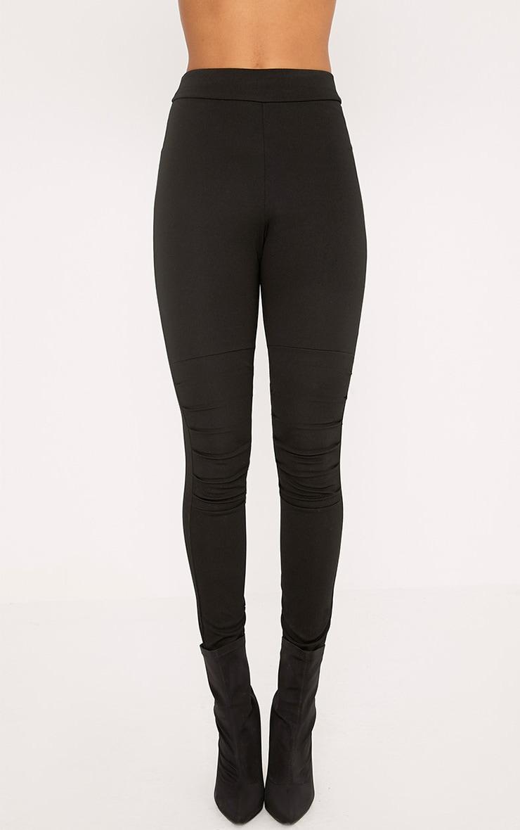 Drina Black Ruched Knee Skinny Trousers  2