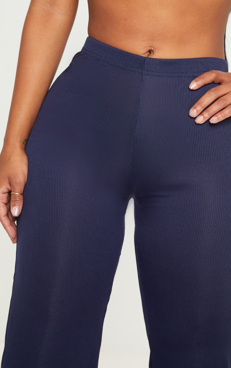 Shape Navy Ribbed Wide Leg Trousers 5