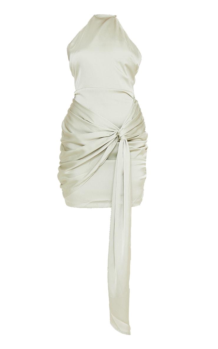 Sage Green Satin Halterneck Ruched Drape Detail Bodycon Dress 5