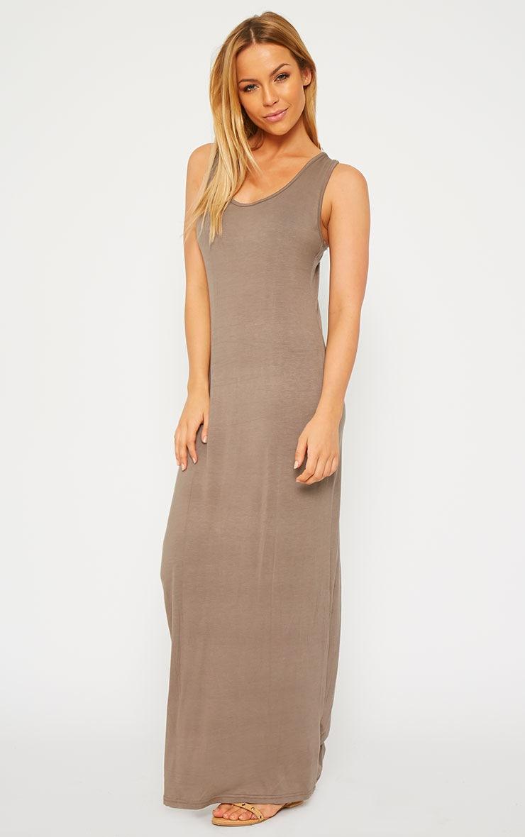 Basic Mocha Jersey Maxi Dress 1