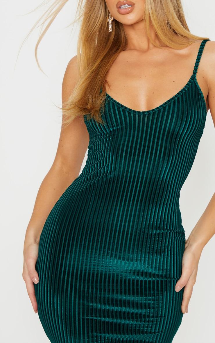 Emerald Green Velvet Ribbed Strappy Bodycon Dress 5