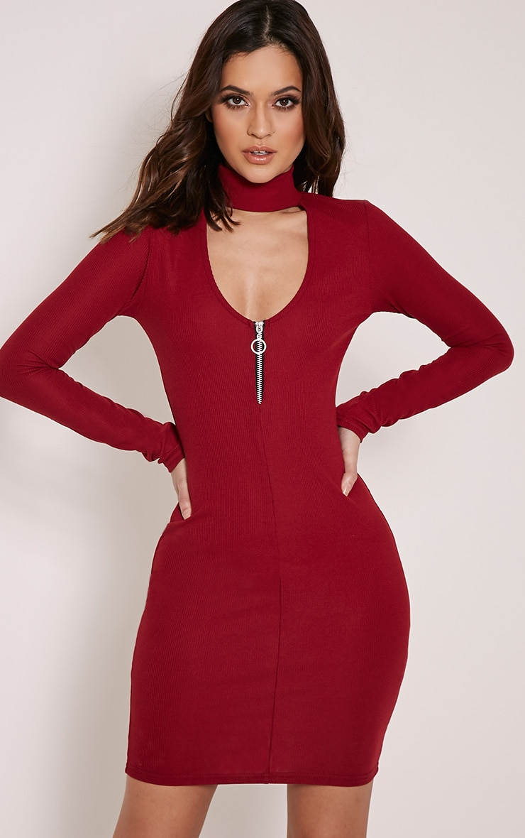 Marlene Burgundy Circle Zip Detail Ribbed Bodycon Dress 1