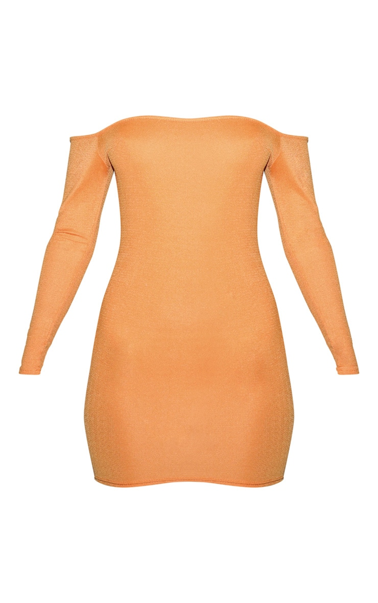 Orange Jersey Bardot Bodycon Dress 3