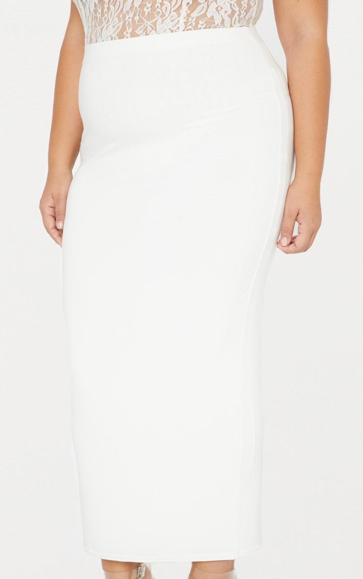 Plus jupe mi-longue près du corps seconde peau blanche 6