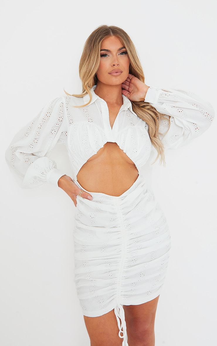 White Textured Cut Out Ruched Long Sleeve Bodycon Dress 1