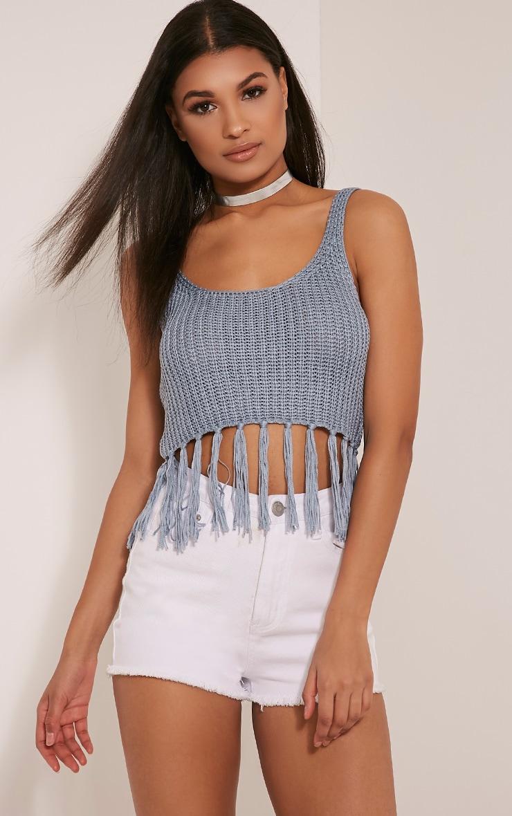Marisol Dusty Blue Tassel Crochet Bralet 1
