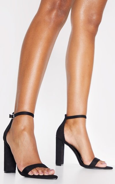 Black Point Toe Block Heel Strappy Sandal