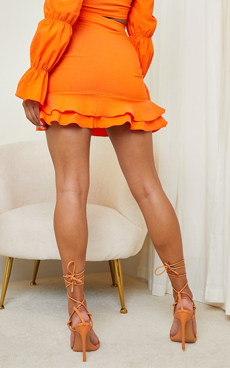 Orange Woven Stretch Frill Ruched Front Mini Skirt 3