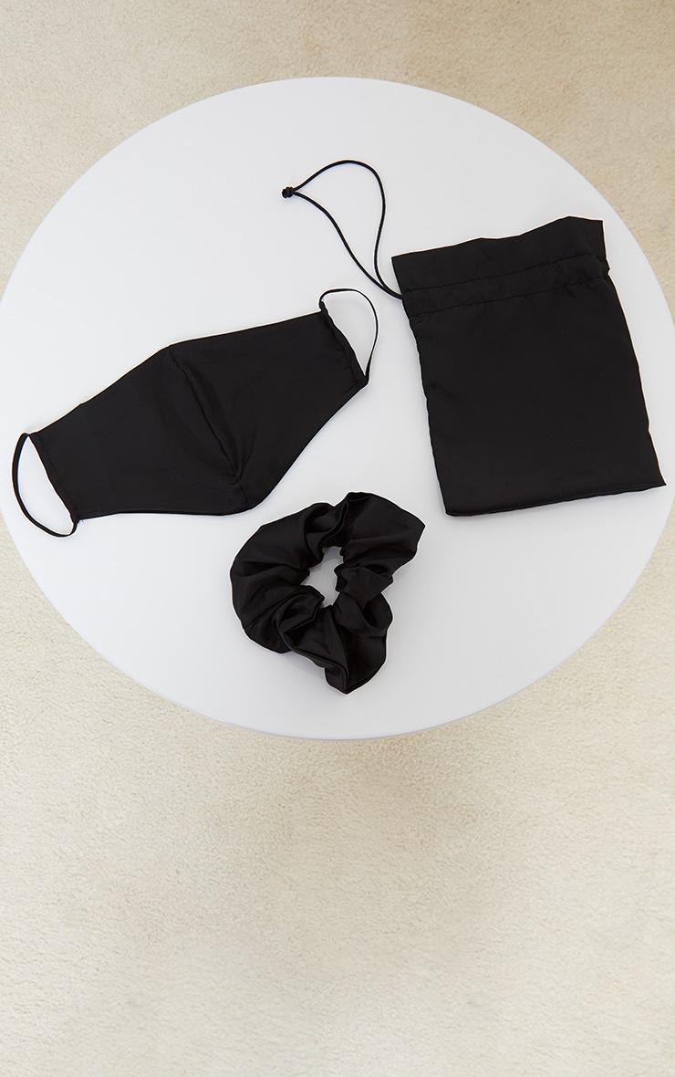 Black Satin Scrunchie And Mask Set 2
