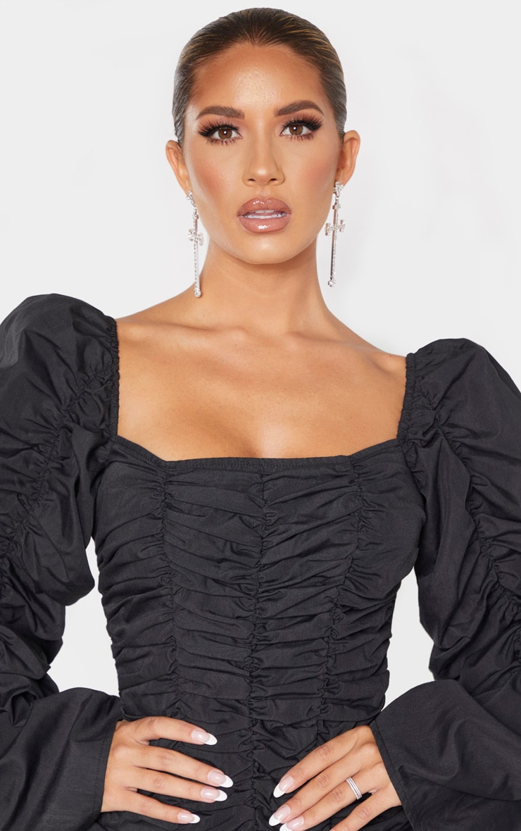 Black Woven Ruched Oversized Sleeve Long Top 5