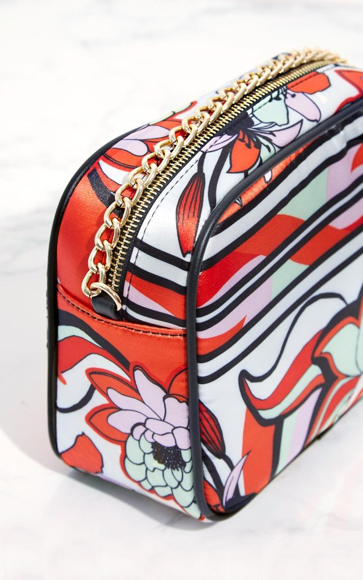 Orange Printed Chain Cross Body Bag 5