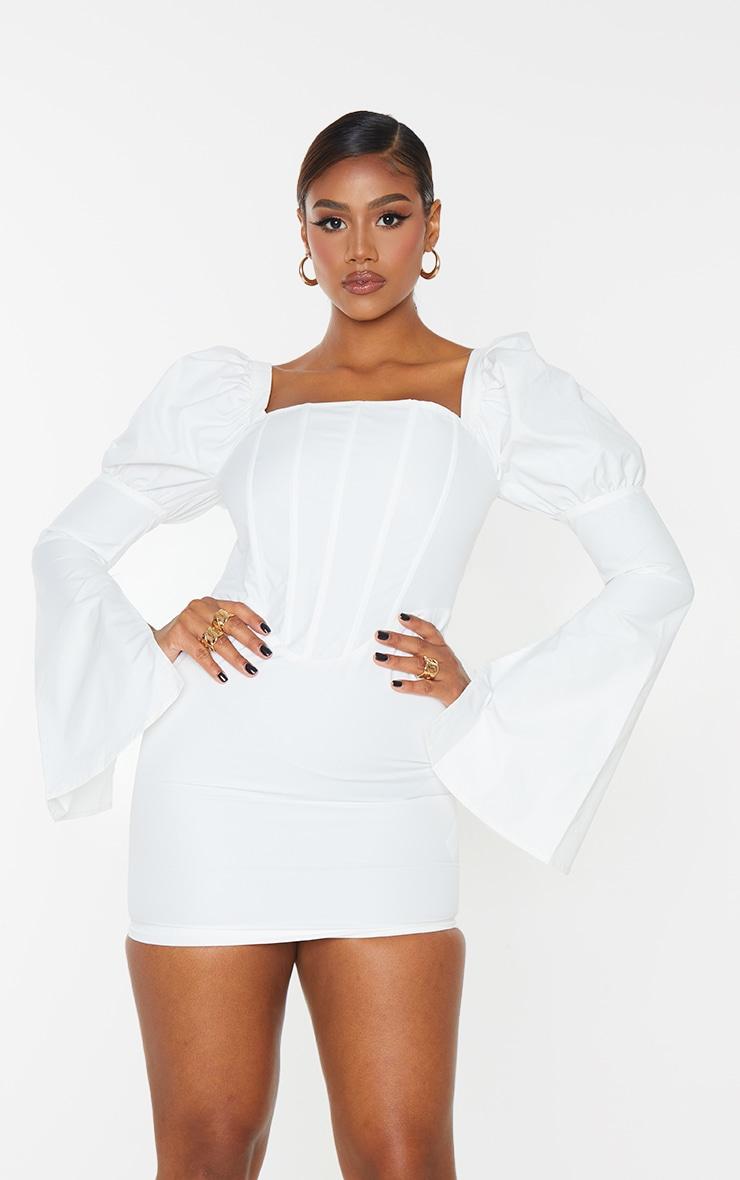 White Bell Sleeve Corset Detail Long Sleeve Bodycon Dress 1