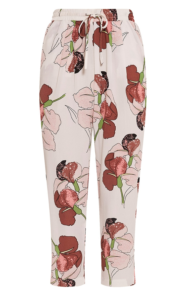 Diya Pink Orchid Print Cropped Trousers 3